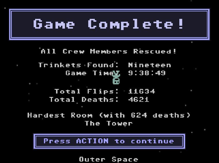 Carls first attempt at playing VVVVVV beta - win!